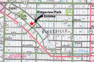 Map of Ridgeview Park Estates, Custom Built Homes in the Cottam, Kingsville area.